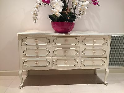 Beautiful French Style White Lowboy/Tallboy Chest of Drawers