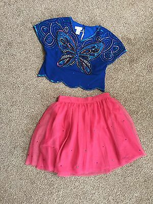 Girls Monsoon Butterfly outfit Age 4 Blue Pink