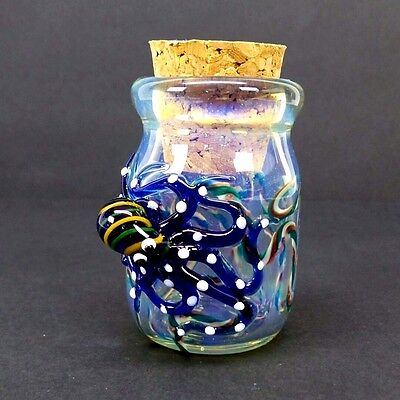 Hand Blown 3-D Octopus Glass Jar Fitted Cork Collectible Trinket Container 1