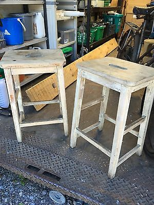 2 Old School Vintage Wooden Stools With Hands Slots & Original Patina