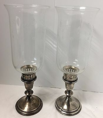 PAIR Vintage Towle Sterling Silver Candlesticks Etched Glass Hurricane Shades