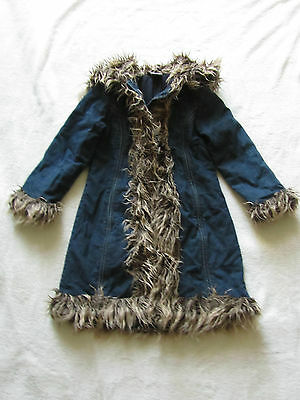 Dark Blue Denim Ladybird Faux Fur Trim Hood Coat Long Parka Style - 4 - 5 years