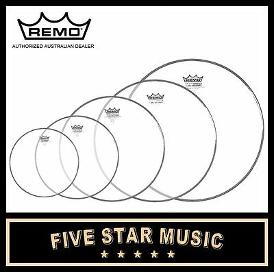 "Remo Ambassador Clear Fusion 5 Pce Drum Skin Set Pack 8"" 10"" 12"" 14"" 16"" Heads"