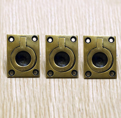 "1.57"" 3 pcs Vintage Small Flush Lift Handle Solid Brass Atg Cabinet Drawer Pulls"