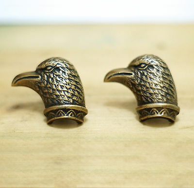 2 pcs Vtg Desert Golden Eagle Hawk Falcon Eagle Solid Brass Cabinet Drawer Pull