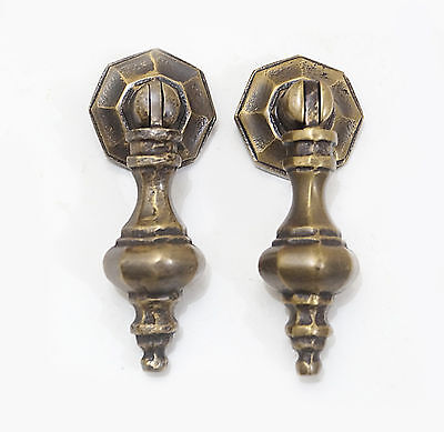 "3.30"" Lot 2 pcs Art Deco TEAR DROP Cudgel Solid Brass Knob Drawer Handle Pulls"