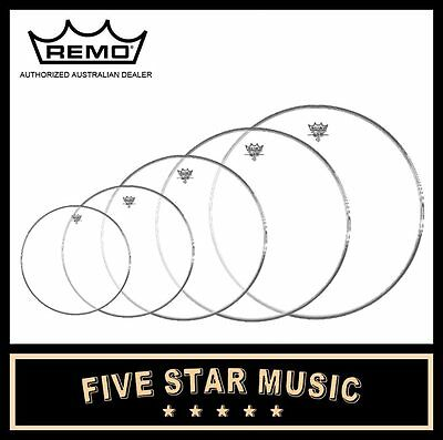 "Remo Emperor Clear Fusion 5 Pce Drum Skin Set Pack 8"" 10"" 12"" 14"" 16"" Heads"