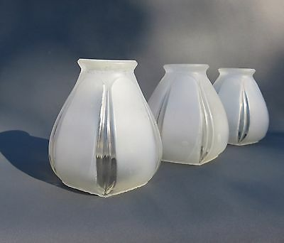 "3 Art Deco Frosted Clear Ribbed Glass Lamp Shades 2 1/4"" Fitter"