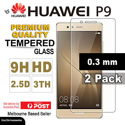 2x GENUINE Premium Tempered Glass Screen Protector Film for Huawei P9