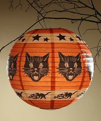 Orange Pumpkin Shape Fraidy Cat Paper Lantern Light & Cord Bethany Lowe RL3616
