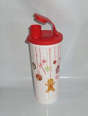 New Tupperware 16oz Iced Tea Tumbler Christmas Holiday Gingerbread Man Ornaments