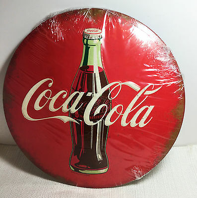 Vintage Style Coca Cola Red Round Style Button Bottle Metal Sign Coke Drink Soda