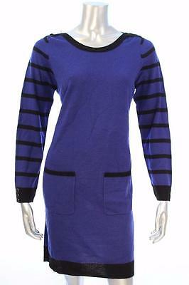 New Women's #3290 Ny Collection Blue/Black Striped-Sleeve Sweater Dress Sz Med