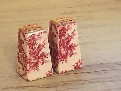 Vintage Small French Toile & Gold Salt & Pepper Shakers Hollywood Regency