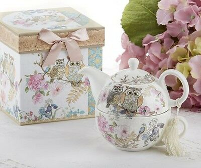 Delton Porcelain Tea for One with Decorative Gift Box, Owls