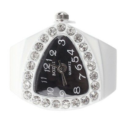 White Stretchy Rhinestone Finger Ring Time Watch 21mm HOT WD