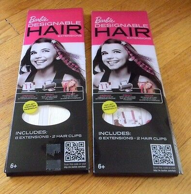 Barbie Designable Ink jet Printable Hair extensions NEW 14 count