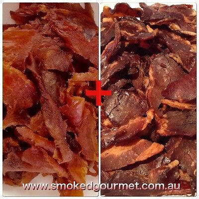 All Natural Premium Salmon 50g + Bacon Jerky 50g Protein school work snack