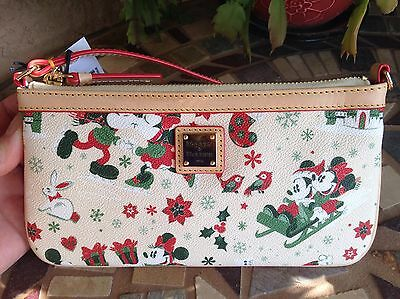 IN HAND Disney Dooney & Bourke Holiday Christmas Mickey Minnie Wristlet Wallet