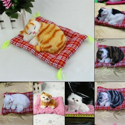 New Lovely Simulation Animal Doll Plush Sleeping Cats with Sound Kids Toy KG