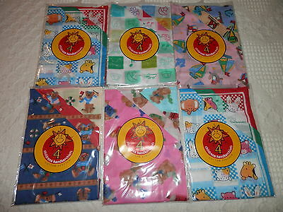 Children's 100% Cotton Handkerchiefs 4 Pack 25Cm X 25Cm