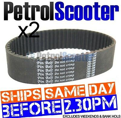 2 x Petrol Scooter DRIVE BELT Pin Belt HTD 295 5M  Fits Some Go Karts Buggies