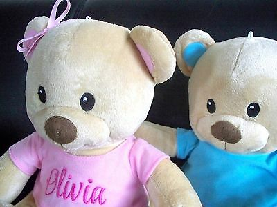 Personalised Teddy Bear 25cm Any Name Great Baby Gift or Birthday Get Well Gift