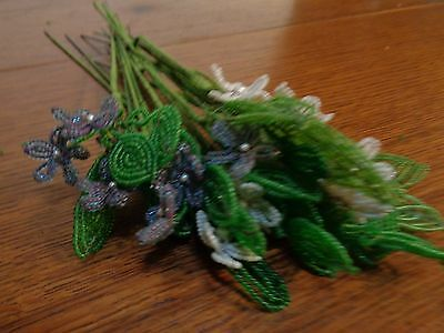 Vintage French Beaded Glass Flowers Hand Made 21 Stems