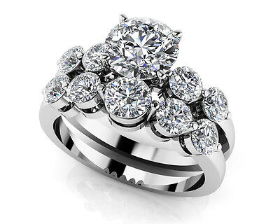 1.49 Ct Five Across Diamond Wedding Bridal Set in 10k White Gold Over 925 Silver