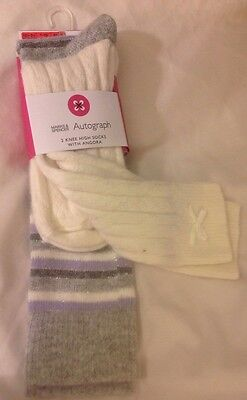 M&S Autograph Girls Two Pairs Knee High Socks With Angora Age 7-10, 12 1/2-3 1/2