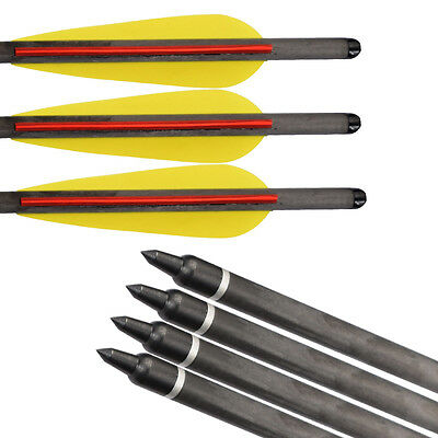 12pcs 16 inch Crossbow Bolt Hybrid Carbon Arrows 125gr Point Hunting Shooting
