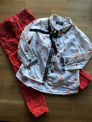 Girls red Next jeans and shirt outfit set Age 3