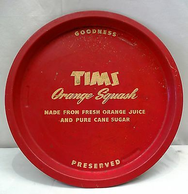 Vintage Advertising Tray Old Serving Tims Orange Squash Genuine Collectibles