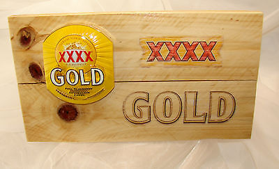 Brand New XXXX GOLD Beer Tap Badge horizontally mounted on Wall Plaque for Bar
