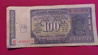 India, 100 Rupees Banknote. Un-dated, signature version 78 (1970). #AF10 654671.
