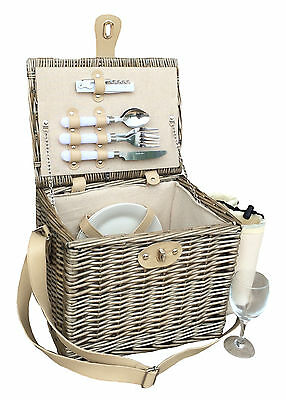 New Stunning 2 Person Filled Wicker  Picnic Hamper  With Shoulder Strap