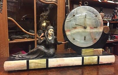 Fine 1930's original art deco marble mantle clock, Open To Offers