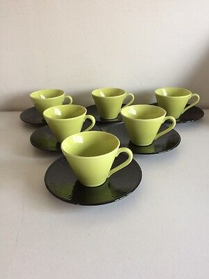 Stunning Stig Lindberg (Colorado 1955-62) Stylistically Pure 6 Cups And Saucers
