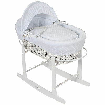 Luxury White Wicker Moses Basket With Thick Popcorn Dressing Inc Rocking Stand