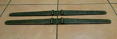 Large pair of reclaimed antique solid brass hinges