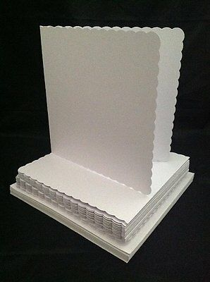 Crafts UK 25 Scalloped Cards and Envelopes, White, 8 x 8-Inch