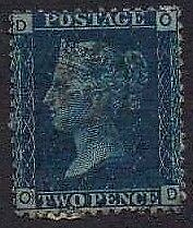 1879 QV Fine Used SG47 PL13 2d Blue Lovely Condition
