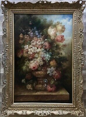 20th century large oil painting on canvas indistinctly signed gilt frame