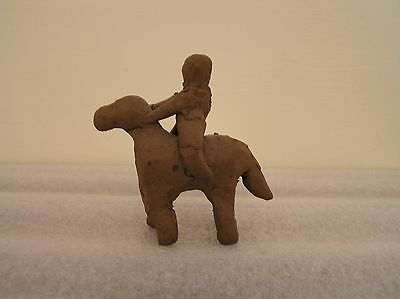 Naive Clay Horse and Rider Figurine