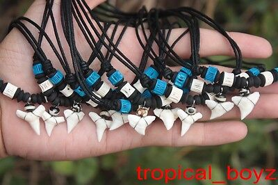10 Shark Tooth Necklaces Sharks Teeth wth BLUE CARTILAGE Bone Beads Wholesale
