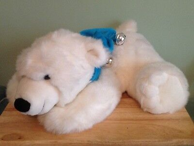 BHS Large 20 Inch Soft Polar Bear Toy with Jingly Scarf