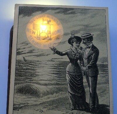 Victorian Trade Card New Home Sewing Machine Hold-to-Light Andrus Williamsport