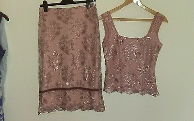 1920's flapper style woman's  vintage skirt and matching top, size m