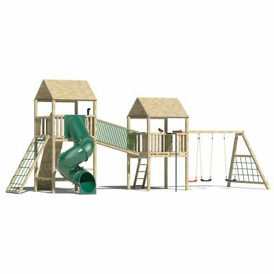 Playhouse on stilts, children outdoor fun playhouse, climbing frame, play frame.