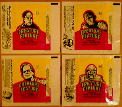 CREATURE FEATURE - SET of WRAPPERS (4) - 1980 TOPPS